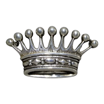 Sterling Silver Scandinavian Minimalist Royal Crown Brooch 13gm