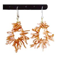 Delicate Angel Skin Coral Branches Hoop Dangle Earrings