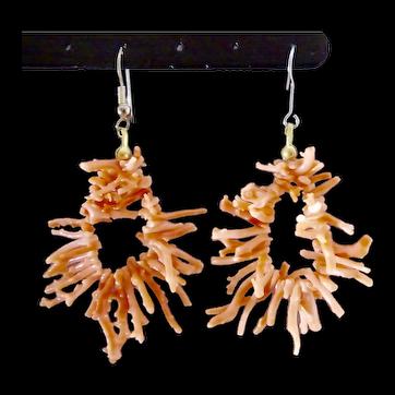 Delicate Angel Skin Coral Branches Hoop Dangle Earrings