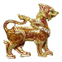 Ming Dynasty Foo Dog Guardian Rhinestone Enamel Brooch