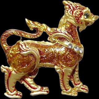Ming Dynasty Foo Dog Guardian Rhinestone Enamel Brooch