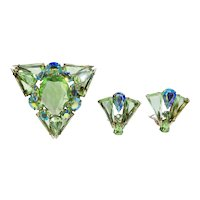 DeLizza & Elster Juliana Spring Green Triangle Brooch Earrings