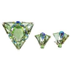 DeLizza & Elster Juliana Spring Green Triangle Brooch Earrings
