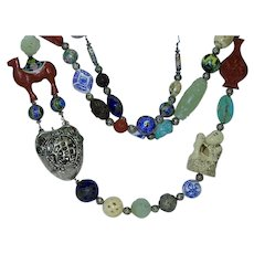Eclectic Asian Elements Bold Statement Necklace