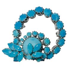 Persian Blue Turquoise Rhinestone Circle with Inset Brooch
