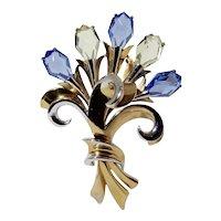 High Relief Flower Bouquet w Coffin Cut Rhinestones Statement Brooch