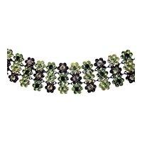 Belle Paris Purple Green Yellow Rhinestone Collar Necklace