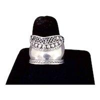Sterling Silver Cigar Band Embellished Bali Design Ring