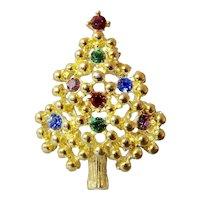 Eisenberg Rhinestone Gold Ball Ornament Christmas Tree Brooch