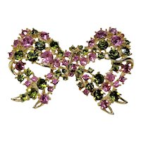 Lisner Delicate Frilly Watermelon Pink Green Rhinestone Bow Brooch