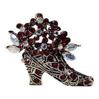 Victorian Style Bootie Red Rhinestone Flower Cluster Brooch