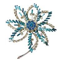 Aquamarine Spangled Rhinestone Open Work Daylily Flower Brooch