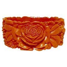 Celluloid Coral Carved Rose and Daisy Cuff Statement Bracelet