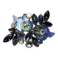 Edlee Blue & Green Pressed Glass Fan Design Brooch