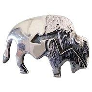 Ervin Hoskie Navajo Sterling Silver Buffalo Heartline Brooch