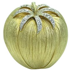 45% Off Corocraft Tomato Rhinestone Brooch