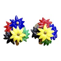 50% Off Early Plastic Lily Flower Cluster Earrings