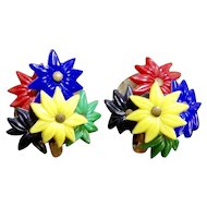 Early Plastic Summer Lily Flower Cluster Earrings