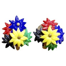 Sale Early Plastic Summer Lily Flower Cluster Earrings