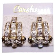 Vintage Carolee Chunky Trapezoid Crystal Earrings Mint on Card
