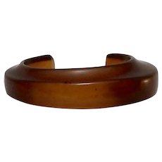 Bakelite Cinnamon Red Modernist Offset Cuff Bracelet