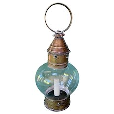 19thC. Brass & Copper Flattened Onion Fixed Globe Candle Lantern with Pierced Stars
