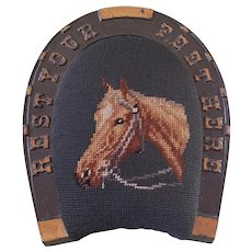 19thC. Victorian Cast Iron Painted Footstool Needlepoint Horse Equestrian Folk Art