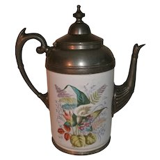 Beautiful 19th Century Victorian Graniteware / enamelware & Pewter (Silverplate) Gooseneck Coffee Pot / Tea Pot with Ornate Floral Spray Decoration