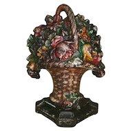 Antique Small Cast Iron Flower Basket Doorstop in Original Paint - Pattern #8