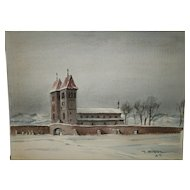 """Vintage Mid-Century Impressionist """"CHURCH IN BAYERN"""" Scene Watercolor / Mixed Media On Woven Paper - Signed LR - J. Fentalen '59 (1959)"""