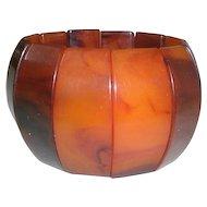 Vintage Caramel & Butterscotch Wide Sectional Marbelized Swirl Stretch Bracelet