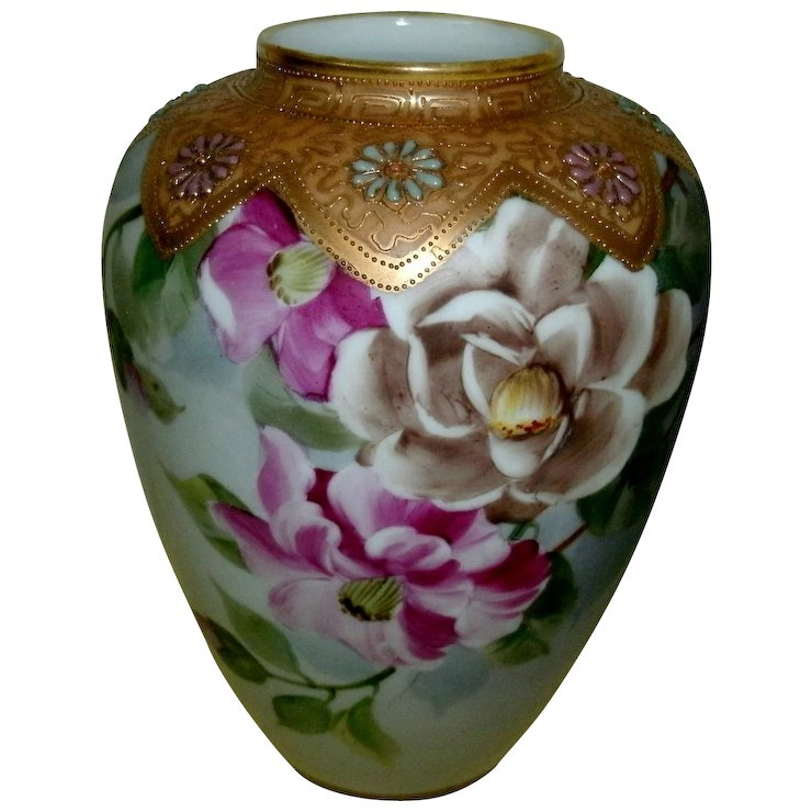 Antique Hand Painted Nippon Vase With Ornate Moriage And Gold Gilt