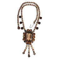 Vintage Art Deco 1940-50 Amber Rhinestone Necklace - Faceted & Prong Set
