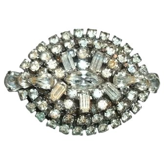 """Vintage Costume 3 Tiered """"Diamond"""" Rhinestone Brooch - 106 Faceted & Prong Set Stones - 1940's-50's"""