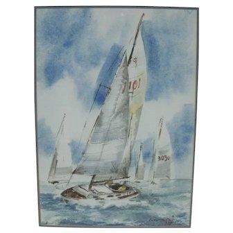 Vintage Watercolor Sailing Scene Painting - Sail Boat Racing Scene - Signed LR hamri '73