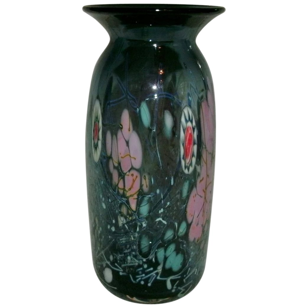 Beautiful multi color studio art glass vase with millefiori cane click to expand beautiful multi color studio art glass vase with millefiori cane decoration signed reviewsmspy