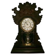 Antique Victorian Walnut Gingerbread Mantle Clock - Original Untouched Finish - Ex. Working Condition