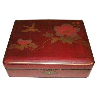Vintage Oriental, Japanese Meiji Period Hand Painted Red Laquer Box - Bird & Flowers
