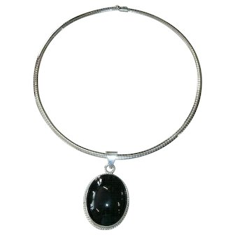 """Vintage Sterling Silver Coiled """"Gas Pipe"""" Collar Necklace w/ Large Taxco Sterling & Black Onyx Pendant"""