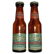 Vintage Pair Amber Blatz Old Heidelberg Castle Beer Bottle Salt & Pepper Shakers - Circa 1940-50