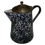 Antique Victorian Deep Cobalt Blue & White Swirl Graniteware Enamelware Coffee Pot