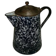 Antique Victorian Deep Cobalt Blue & White Swirl Graniteware Enamelware Coffee Pot