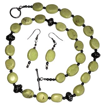 Vintage Apple Green Turquoise & Sterling Silver Bead (with Hearts) Necklace with Matching Earrings