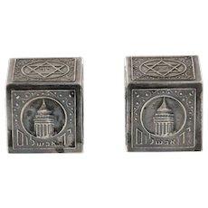 Bezalel Silver Plated Teffilin Cases By Zeev Raban, Jerusalem, 1950's, Judaica.