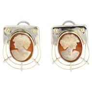 Pair of Sterling Silver and 14 Karat Gold Cameo Earrings.