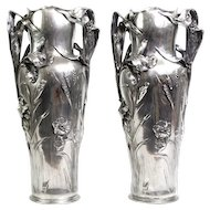 Art Nouveau Pair Of Large Pewter Floor Vases, J.R. Hannig, Dautzenberg, Germany, Ca 1900.