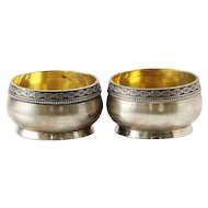 Estonian Pair Of Parcel Gilt 875 Silver Open Salt Cellars, Tallinn, Ca 1950