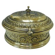 WMF B. Buch Brass Tea Caddy Sugar Box, Warsaw, Poland, Circa 1900