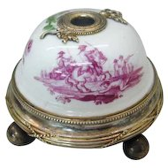 French Risler & Carre Silver Gilt And Porcelain Electric Desk Bell, Paris, Ca 1900.