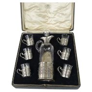 Sterling Silver & Glass 7pcs Liqueur Set, Goldsmiths & Silversmiths, London, 1924.